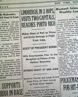 CHARLES LINDBERGH Tropics Airmail Airplane Flights Puerto Rico 1929 Newspaper