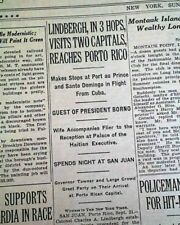 CHARLES LINDBERGH Tropics Airmail Airplane Flights Puerto Rico 1929 Newspaper
