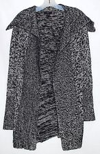 GAP Black & White Speckled Wool & Cotton Wide Collar Womens Swing Sweater Size L