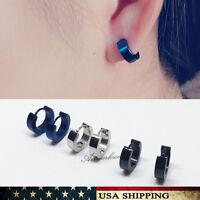 Punk Mens Women Stainless Steel Hoop Huggies Ear Stud Earrings Gothic Jewelry
