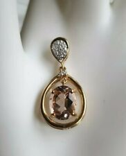 9ct Gold Morganite And Diamond Pendant