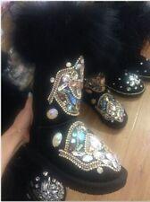 Women's Warm Snow Boots Real Leather Fox Fur Rhinestone Mid-calf Shoes Winter Sz