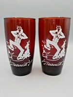 """2 Vtg """"Partners All"""" Ruby Red Glass Anchor Hocking Drink Glass Square Dancing"""