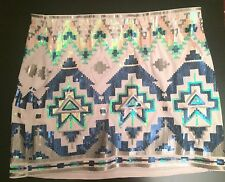 Express Tribal Sequin Multy-color Pink Green Mini Skirt Size M