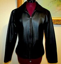 KC COLLECTIONS BLACK LEATHER ZIP FRONT 50%ACETATE/50%POLYESTER LINED JACKET SZ S