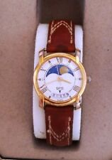 "Good Cond Women's 1990 GUESS MONTHLY "" MOON PHASE "" CRESCENT & DATE WINDOW Watch"