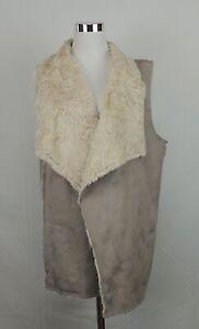 Saks Fifth Avenue Faux Fur Vest Brown Tan Long Draped Open Soft Metallic L EUC