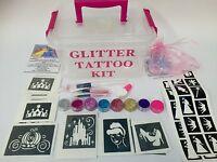 GLITTER TATTOO KIT PRINCESS 90 large 24 mini stencil 8glitter boy girl Christmas