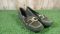 ECCO women's brown suede flats slip on shoes buckle loafers size 6 UK 39 EUR