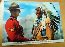 NICE OLD  POSTCARD: MOUNTIE AND INDIAN CHIEF SITTING EAGLE~ca 1950's