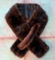 VINTAGE DESIGNER Brown Mink Fur Wrap Scarf Shawl Collar