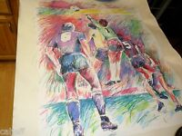 ORIGINAL ART ARTIST PROOF JULI VEEE SAN DIEGO SOCCERS AP LE GUARDIAN DE BUT