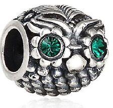 ORIGINALE 925 argento Sterling Charm Bead Wise Gufo Occhi Cristallo Verde
