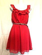 As U Wish Red Mini Dress Sz S Lined Double Ruffle Strap Neck Elastic Neck Waist