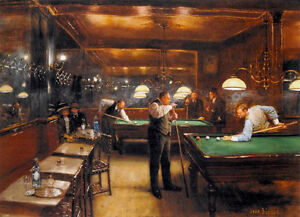 A Game of Billiards  by Jean Beraud   Giclee Canvas Print Repro