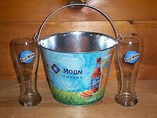 BLUE MOON 2 PILSNER STYLE BEER PINT GLASSES & ARTFULLY CRAFTED ICE BUCKET NEW