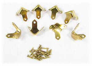 8pc. Small Brass Trunk/Box Corners - a Great Accent for Your Project!