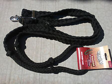 BRAIDED KNOTTED BARREL RACING TOUGH-1 BLACK ROPING REINS WESTERN 7 FEET