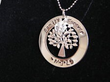 Personalised Hand Stamped Family Forever Tree of Life Pendant/necklace