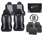 GREY BLACK UNIVERSAL CAR SEAT COVER SET inc HEAD REST FULL set MATS BELT PADS
