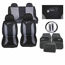 Universal Car Seat Cover Set 15 Pieces Sports Logo Grey Fits Mazda 121 2 3 5 6