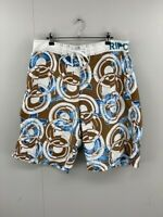 Rip Curl Mens White Blue Brown Geometric Polyester Regular Board Shorts Size 36