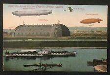 postcard Germany Zeppelin Luftschiff Städt. Land Wasser Flugplatz Dresden Kaditz