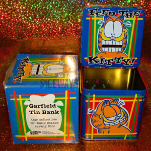 GARFIELD TIN COIN BANK w /lid vintage collectible piggy funny humor mouth slot