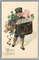 1903 EMBOSSED BONNE ANNEE BOY CHILD delivering LETTERS FRENCH POSTCARD
