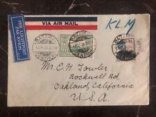 1931 Batavia Netherlands Indies Airmail Cover to Oakland Ca USA Via KLM