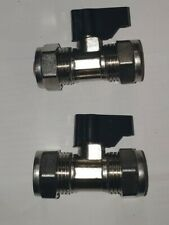 15MM WRAS APPROVED CHROME COMPRESSION ISOLATION VALVE WITH HANDLE (PACK OF 2)