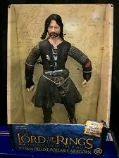 """THE LORD OF THE RINGS LOTR ARAGORN 11""""/28 CM DELUXE POSEABLE TOY BIZ 2003 NEW"""
