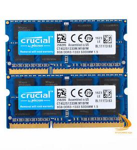 Crucial 16GB 2x 8GB 2Rx8 PC3-10600S DDR3-1333Mhz SODIMM Laptop Memory RAM 1.5V D