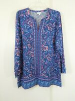 multi color J JILL shirt top blouse tunic floral paisley long sleeve M MEDIUM