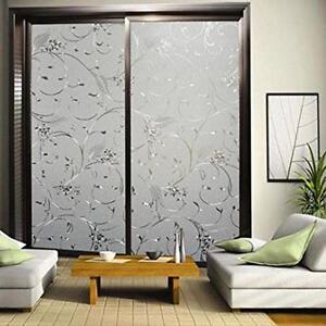 Window Film Flower Self Adhesive Static Glass Privacy Elegant Decorative