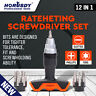 12pc Ratcheting Screwdriver T-Driver T-Handle Set w Stubby Precision Bit Storage