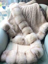 BLUE Fox Fur maglia di lana Cape Poncho ONE SIZE & XXL Artico pelliccia di volpe sciarpa