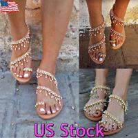 Women Bohemian Sandals Flats Pearl Tassel Clip Toe Summer Beach Flat Sandals USA