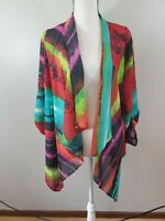 Come N See Large Women's Sheer Kimono Top Open Front Striped Cover Up