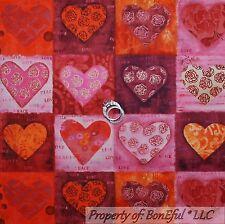 BonEful Fabric Cotton Quilt Red Pink Orange HEART Rose Flower Square Block SCRAP