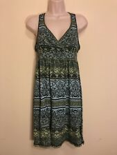 Mudd Juniors Size M Green Turquoise Floral Sleeveless Sundress Dress EUC