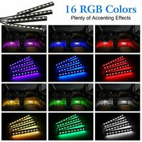 4 x 9 LED Remote Control RGB Car Underbody Interior Atmosphere Light Strip HY