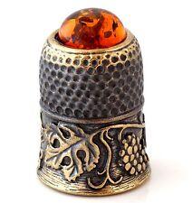 Thimble Brass & Honey Baltic Amber Grapevine Ornament Miniature Russian Souvenir