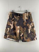 Quicksilver Mens Camo High Rise Medium Wash Lace Knot Board Shorts Size 34