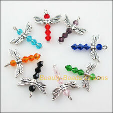 8Pcs Tibetan Silver Wings Mixed Animal Dragonfly Charms Pendants 20x25mm