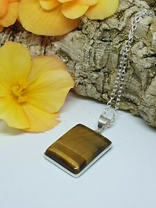 """Golden Tigers Eye Reflective Pendant Necklace Silver Plated 18"""" Chain T-9"""