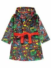 Boys Marvel Comics Superhero Dressing Gown Hooded Robe Age's 2-14 Years