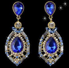 "Thompson Luxury ""CARANA"" Gota de agua Pendientes azules cristal chapado en oro"