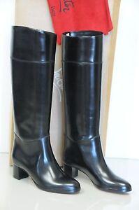 $1695 New Christian Louboutin Black Leather TUBA 50 APOLLO CALF Boots 36.5 39.5