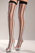 Sexy Black White Vertical Stripe Fishnet Thigh High Sporty Ref Referee Goth Doll